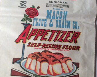 Vintage Unused Macon Flour Bag  10lb. Fabric