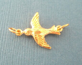 24K Gold Vermeil Swallow Flying Bird Connector Charm
