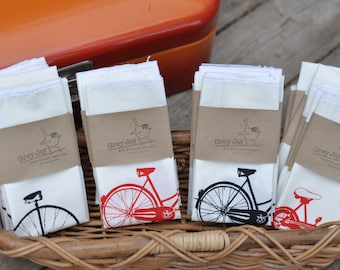 Reusable Handkerchief - Hankie - Screen Printed - Tricycle - Unicycle - Bikes