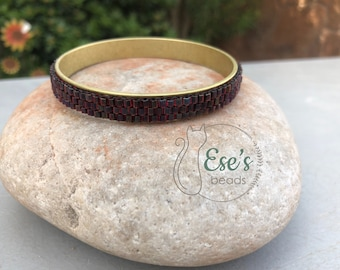 Brass Bangle with Ruby Garnet Gold Delicas