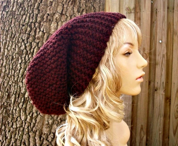 Oversized Beanie Hat Claret Red Wine Hat Slouchy Beanie Knit Hat Womens Hat - Slouchy Knit Hat Red Hat Red Beanie - 34 Color Choices