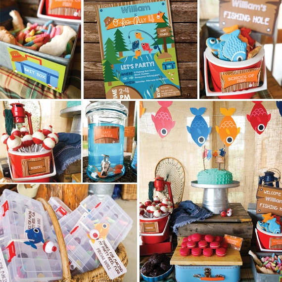 Fishing party decorations boys fishing birthday party decor for Fish party supplies