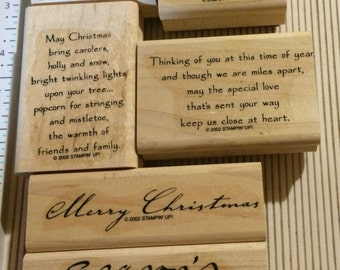 Stampin Up SEASON'S GREETINGS   Set of 8 mounted stamp set  Retired  2002  Greeting Salutations Verses Phrases