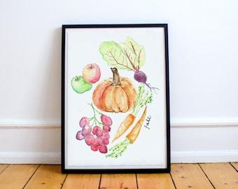 Fall Produce Watercolor Print
