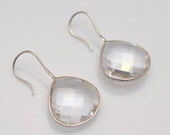 Clear Quartz 925 silver Gemstone Bezel Earrings