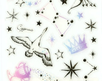 Kawaii Japan Sticker Sheet Assort Cosmical Series GOLD CONSTELLATIONS Pegasus Star Signs Space Constellations Swan Astronomy Stars Archer Z