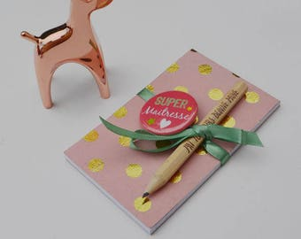 TEACHER Notepad badge and pencil