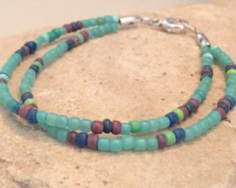 Green/aqua double strand seed bead bracelet, sterling silver bracelet, boho bracelet, small bracelet, fall bracelet, gift for her
