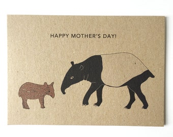 Tapir Mother's Day card - animal illustration - mother baby card - eco friendly - recycled kraft card