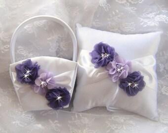 Flower Girl Basket Ring Bearer Pillow Set Purple and Lavender