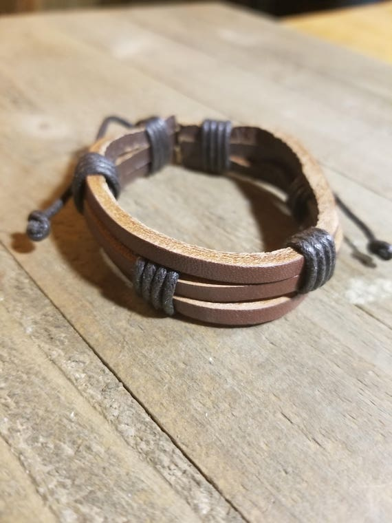 Brown Leather Dark Brown Wrapped Adjustable Bracelet Native American Style Fashion Cuff  (B10)