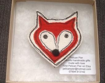Cute Fox freestitched brooch
