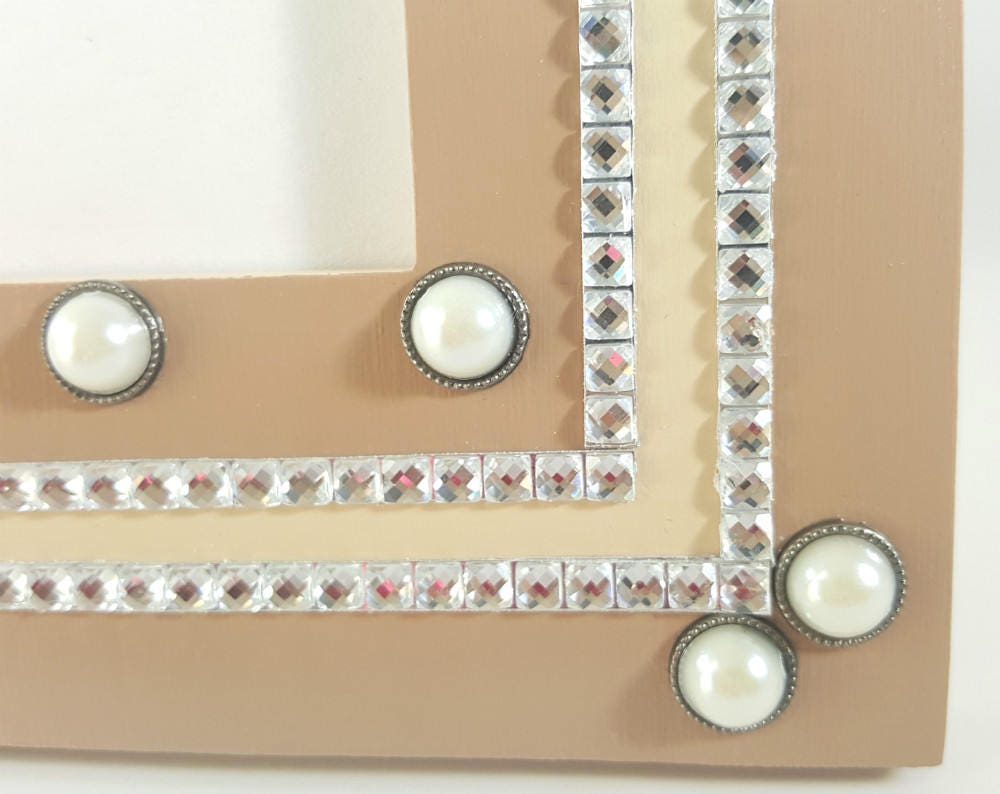 5x7 Picture Frame - Pearl Picture Frame - Rhinestone Picture Frame ...