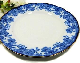Antique Doulton Burslem Melrose flux bleu assiette