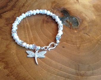 Freshwater Pearl Dragonfly Bracelet