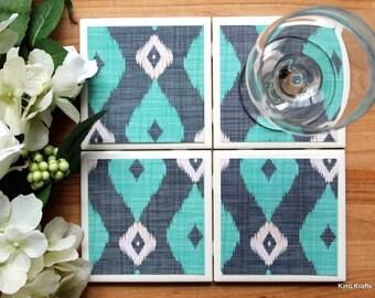 Tile Coaster - Coasters for Drinks - Coasters Tile - Turquoise Coasters - Handmade Coasters - Coasters - Drink Coasters - Tile Coasters