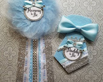 Prince Baby Shower Corsage/ Baby Boy/ Mommy To Be Pin/ Daddy To Be
