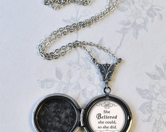 She Believed She Could locket, graduation gift inspirational jewelry quote jewelry quote locket gift for graduate photo locket