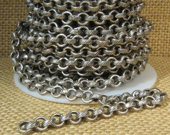 5ft 5.6mm Etched Rolo Chain - Antique Silver - 5.6mm Links - CH94