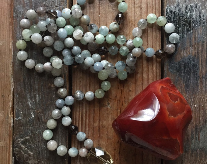 Pre Order | Serenity Mala | Green / Blue Aquamarine + Smoky Quartz | 108 Bead | 8 mm | Handknotted | Spiritual Junkies |Yoga + Meditation
