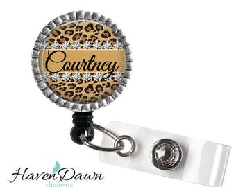 Leopard Print Name Badge Reel, Animal Print Badge Reel