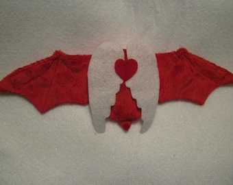 Valentine's Day Bat Cup Sleeve/Cozie with Wings