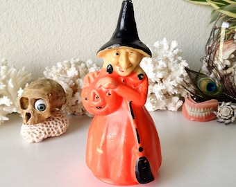 Vintage witch candle Gurley wax Halloween party decoration neon orange creepy witch figurine