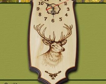 Deer Clock, Wall clock, Wooden clock, Pyrography, Woodburning