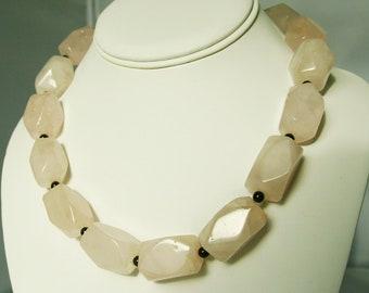 Huge Rose Quartz Garnet Necklace