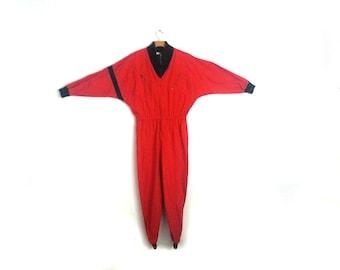 Vintage 80s Jumpsuit Women's Ski Suit Red Medium