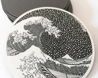 Wave magnet, thewave, Decorative magnets, Ref magnet, magnetic art, japanese wave, Decoration Fridge, Surfing painting, Japanese art