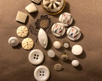 Vintage Buttons - Assorted White and Ivory Buttons Set of 20