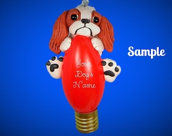 Red and white Japanese Chin dog Christmas Light Bulb Ornament Sally's Bits of Clay PERSONALIZED FREE with dog's name