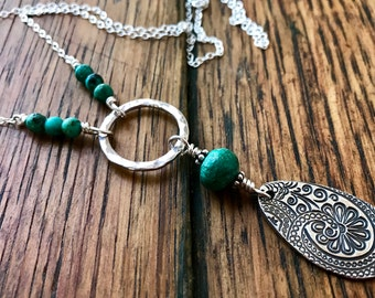 Turquoise Necklace with a Hand Forged Sterling Silver Ring and Large PMC Silver Paisley Teardrop Pendant