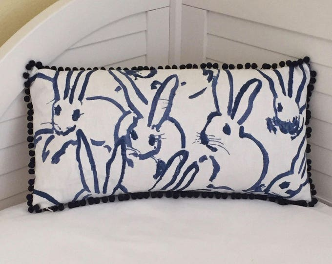 Groundworks Bunny Hutch Print in Navy on Both Sides Designer Lumbar Pillow Cover with Small Pom Pom Trim