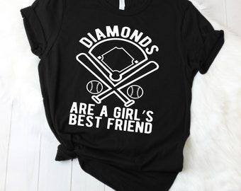 Diamonds are a Girl's Best Friend - Baseball Shirt - Baseball Tee - Baseball T-Shirt - Softball - Baseball Mom