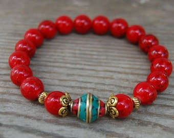 Red Stone Bracelet,Tibetan Bracelet,Coral Brass focal Bead,Red Coral Gemstone 10mm Beads,Elastic Stretch Bracelet,Men,Women,Pray,Love,Peace