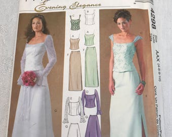McCalls 4298 Evening Wear, Top and Skirt, Size 4 - 10, UNCUT