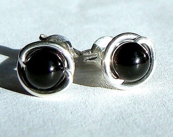 Black Onyx Studs 5mm Black Onyx Earrings in Sterling Silver Post Earrings Onyx Studs
