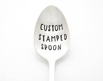 Custom Stamped Spoon for Personalized Gift Idea. Mother's Day, Birthday Gift, Customized Silverware by Milk & Honey ®