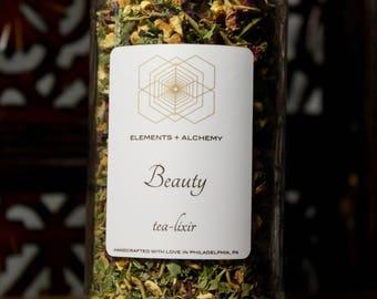 Beauty Herbal Tea-lixir with Lemon Balm + Rose Petals