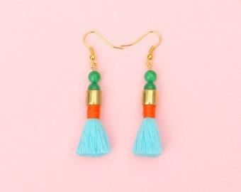 Beaded Brass Tassel Earrings