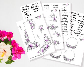 Decorative Purple Floral Monthly Kit   Bullet Journal Stickers   Brush Lettering   Watercolor Flowers   Hand Drawn