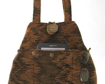 fabric tote, brown bag, tote handbag, shoulder bag, diaper bag, shoulder purse, hobo bag, brown handbag, tote with pockets, ready to ship