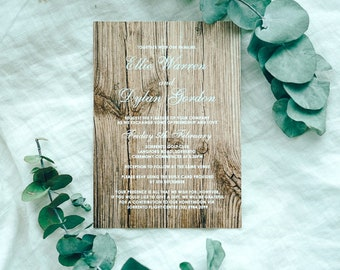 Wooden Texture Print Wedding invite