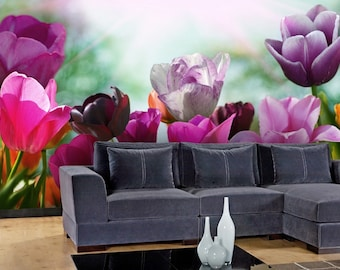 Purple Tulips Wall mural, Wallpaper, Wall décor, Wall decal, Nursery and room décor, Wall art