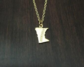 Minnesota Necklace, Minnesota, gold Minnesota necklace, Minnesota jewelry, Minnesota pendant, state necklace, state, necklace, gold necklace