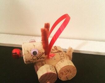 Rudolph Cork Wine Ornament
