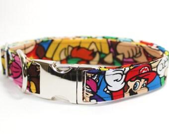 """Mario Super Smash and luigi dog collar - """"The Saga"""""""