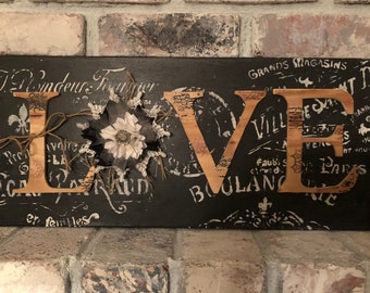 Wooden Shabby Chic Love Home Decor Sign